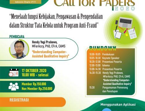 Call for Papers : Menelaah Fungsi Kebijakan, Pengawasan & Pengendalian dalam Struktru Tata Kelola Untuk Program Anti-Fraud